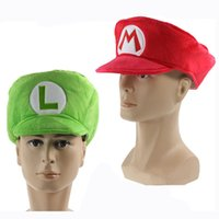 Wholesale Mario Bros Cosplay - Free Shipping New Super Mario Bros. Adult Size Mario Luigi Cosplay Hat Cap For Children Birthday Gift