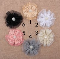 Wholesale Satin Tulle Flower Headband - Fabric Flowers Shabby Tulle Flower Artificial Satin Mesh Flower Hair Accessories Flower For DIY Christmas Headwear Headbands Hairpin AW52