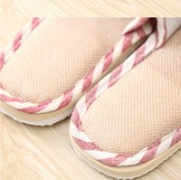 Wholesale Navy Striped Straws - Striped linen cotton four indoor slippers lovers slip soft bottom Home Furnishing wood floor slippers