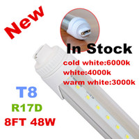 Wholesale Led Tube T8 Pure White - X20 R17D t8 led tube lights 8ft 48W 2.4m Fluorescent Lamp Rotating smd2835 192leds 4800lm AC85-265V single pin warm pure cool white