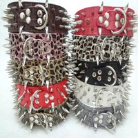 Wholesale Cheap Spiked Collars - new 1PCS Colorful Cheap 100% Guarantee Spiked Studded PU Leather Dog Collars PitBull Mastiff hot sale