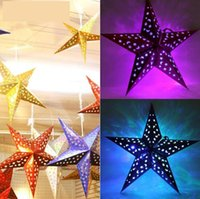 Indoor Christmas Decoration Laser paper solid 2016 Christmas Decoration 3D Laser Paper Five Star Hung Ceiling Decorations 6 Colors 4 Sizes for choices