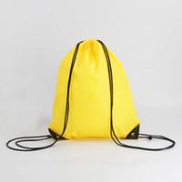 nylon rucksack stoff wasserdicht großhandel-Nonprinting Kordelzug Stoff Schultaschen wasserdicht Rucksack Falten Taschen Marketing Promotion Kordelzug Umhängetasche Einkaufstaschen