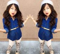 Wholesale Infant Leopard Leggings - Girls Leopard Outfits Baby Clothes Fashion Two-Piece Long Sleeve Denim Shirts+Leopard Print Leggings+Belt Infant Clothing Children Set C001