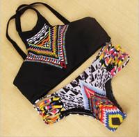 Wholesale Fashion Tankini Swimwear - Fashion Sexy bikini New Design Push Up Women High Neck Bikini Geometry Bath Suit ,Slim Bottom Tankini Swimwear wholesale free shipping