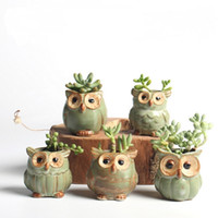Wholesale Artificial Plastic Plants - 5pcs  Lot Creative Ceramic Owl Shape Flower Pots For Fleshy Succulent Plant Animal Style Planter Home Garden Office Decoration