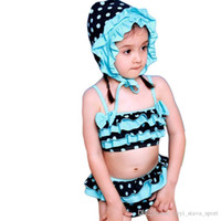 Wholesale Cute Tankini Swimsuits - 2016 New Style Summer Dress Cute Falbala Swimsuit Children Tankini Swimwear Two Pieces Bathing Suit With Hemline For Girls Children's