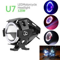 luces de conducción led spotlight al por mayor-Promoción limitada U7 CREE 125W Motocicletas para automóviles Luz antiniebla LED 4 círculos de color DRL Faros de motocicleta Luces de conducción Proyector MOT_20A