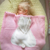 Wholesale Blue Pink Quilt - Baby Quilt Bunny Ears Organic Muslin Crochet Swaddle Wrap Kid Blanket For Beach Home Sleeping bag 29*42INCH