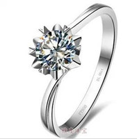 Wholesale 1ct Diamond Silver Ring - Free Shipping Fine Wholesale - US GIA certificate 1ct, sona diamond , moissanite diamond ring set , gold-plated sterling silver finger