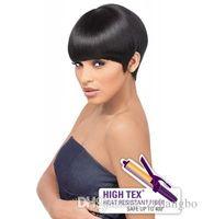 Wholesale Malaysian Wigs China - Beautiful Fashion Wigs China Virgin Hair 100% Full Lace Wigs Silk 5.5 * 5.5 Seamless Density 150% Hair Short Hair Color Black Kabell Wig