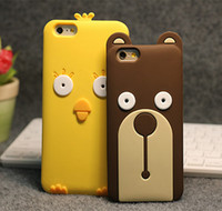 Wholesale Yellow Bear Cases - Fashion Cute 3D Cartoon Chicken Bear Soft Silicone Case Cover for iphone7 7plus iPhone5S iphone6 6S 6plus