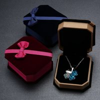 Wholesale Velvet Bow Jewelry Gift Boxes - Wholesale Bow Velvet Gift Box Upscale Jewelry Cartridge Necklaces Box Classic Jewelry Box 4 Colors for choices