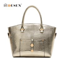 Wholesale Designe Handbags - Wholesale-DUSUN Women Crocodile leather bag High quality sac Women handbag Gold Designe handbags Ladies shoulder bags Bolsas feminina Tote
