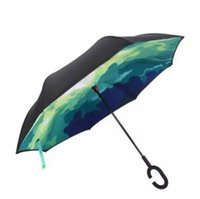 Wholesale Umbrella Base Stands - High Quality Windproof Reverse Folding Double Layer Inverted Chuva Umbrella Self Stand Inside Out Rain Protection C-Hook Hands