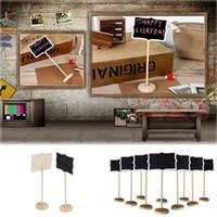 mini tezahürat tahtası toptan satış-Toptan-5 Adet / takım Standı Düğün Masa Dekorasyon Mini Blackboard Kara Tahta Wordpad Mesaj Panosu Tutucu Klip Bir Sopa Üzerinde