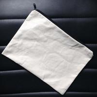 bolsa natural venda por atacado-60 pçs / lote luz natural liso marfim / cor preta pura lona de algodão bolsa de moedas com zíper preto unisex carteira ocasional bolsa de algodão em branco