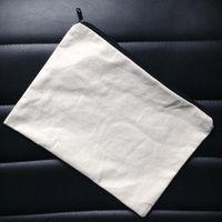 ko großhandel-60pcs / lot Plain natürliches Licht Elfenbein / schwarz Farbe aus reiner Baumwolle Leinwand Geldbörse mit schwarzem Reißverschluss unisex lässig Brieftasche leer Baumwolle Beutel