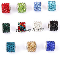 Fashion 10x12mm Rhinestone Big Hole Beads For Snake Chain Bracelet DIY 50pcs / lot Vente en gros Livraison gratuite
