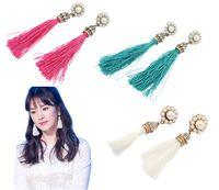 Wholesale Wholesale Silk Thread - Fashion Vintage Style Faux Pearl Flower Rhinestone Cluster Tassels Silk Thread Ear Stud Earrings Jewelry Wholesale 12 Pairs