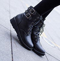 Wholesale Snow Korean Fashion - Korean Explosion models short Boot Student flat boots women's Martin boots Lace belt buckle snow boots