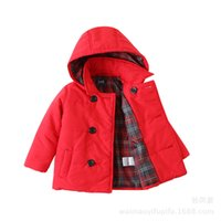 Wholesale Padded Coats For Boys - 3~8Y Kids Clothing Hooded Outwear Coat Thickening of cotton padded clothes for boys and girls Winter clothes