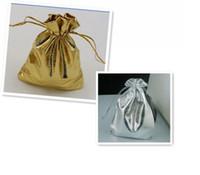 altın gümüş takı torbalar toptan satış-100 adet Moda Altın Veya Gümüş Folyo Tül Saten Takı Çanta Takı Noel Hediyesi Torbalar Çanta 5x7 cm / 7x9 cm / 9x12 cm / 11x16 cm / 13x18 cm