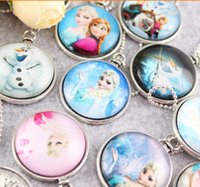 Wholesale Cabochons Kids - Mixed Frozen Necklace Princess Pendants Cartoon Flatback Cameo Cabochons Baby Kids Jewelry Accessories Elsa Anna Clothes Accessories