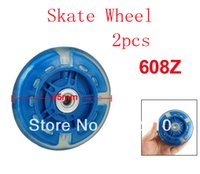 "Wholesale Single Wheel Shoes - Wholesale-Shining Colorful 3.7"" Dia Bearing Inline Single Wheel Clear Blue for Skating Shoes 2pcs"