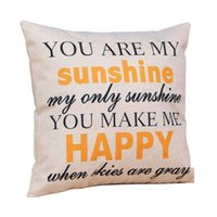 """Wholesale Pillow Cover Cotton - Wholesale-Low Price """"You are my Sunshine """"Cotton Linen Leaning Cushion Throw Pillow Covers Pillowslip Case Good Design 45*45 cm"""