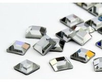 Wholesale Square Crystals 4mm - 1440pcs 4*4mm crystal clear square hotfix rhinestones iron on dmc hot fix crystals for dress shoes bags