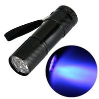 Discount small white led battery - wholesale 9LED 9 LED mini torch UV Light 395-400nm LED Flashlight 3x AAA battery small torch flashlight Free DHL