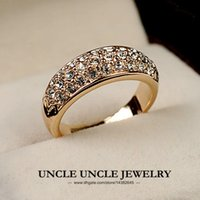 Wholesale Gold Three Finger Ring - Rose Gold Color Classic 3 Rows Rhinestones Setting Trendsetter Woman Fashion Finger Ring Wholesale