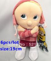 Wholesale Despicable Edith - Free shipping 6pcs lot 19cm Despicable Me girl Edith plush soft dolls
