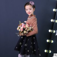 Wholesale Turtleneck Splicing - Winter Big girls velvet thick princess dress children lace pearl ruffle collar dress kids puff sleeve splicing gauze embroidery dress R1195