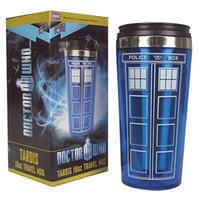 frascos de 16oz venda por atacado-2015 populares Doctor Who caixa de polícia tardis 16 oz caneca de viagem copos de aço inoxidável garrafa de água potável