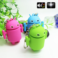Wholesale Led Promotion Item - Novelty items 3D Cute casual chaveiro llaveros Android Robot Shape Blue LED Light Keychain Keyring key holder Gift
