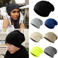 Wholesale Crochet Skull Caps - Wholesale-Fashion Style Unisex Men Knitted Winter Warm Ski Crochet Slouch Hats For Women Cap Cotton Skullies Blends Beanie
