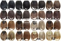 Wholesale Synthetic Fringe - 32 Colors Womens Girls Clip in on Bang Synthetic Extra Long Neat Fringe Front Finge Hairpiece Heat Resist Hair Extensions Accessories LH08