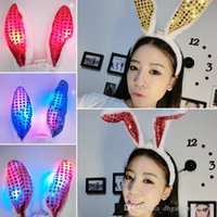 Bands Beau flash LED Hair Bow Light Up Toys Prom Dress Up Rave Toy Oreilles de lapin clignotant Bandeau Pour Fournitures Halloween Xmas Party