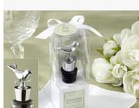 aşk kuşları düğün duşu toptan satış-DHL Ücretsiz Nakliye Aşk kuş krom şarap şişesi tıpa Düğün gelin duş parti iyilik konuk hediye Aşk Kuşlar kuş Stopper