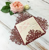 Wholesale European Invitations - Wholesale- 2016 New European style folded invitation cards laser cut wine red wedding invitations