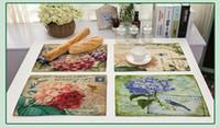 vase retro toptan satış-Çiçekler Vazo Ve Retro Çiçek Baskılı Placemat Ofis Kahve Yemek Dekor Pamuk Keten Renkli Baskı Kalın Masa Ped