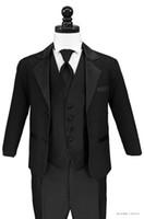 ingrosso i ragazzi legano il nero-Due bottoni di alta qualità Black Notch Risvolto del ragazzo Abiti da cerimonia Occasioni per bambini Smoking da sposa Abiti (giacca + pantaloni + vest + cravatta) K64