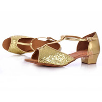 Wholesale Dance Shoes Ballroom For Children - Wholesale-Free Shipping Gold silver 3.5CM Low heel Comfortable Ballroom Latin Tango Dance Shoes For Children,Teenage,Adult