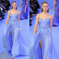 Wholesale Elie Saab Haute - Stunning Elie Saab Haute Couture Lavender Evening Gown Dresses A-Line Strapless Chiffon Sexy Split Pleated Prom Dress Formal Gown