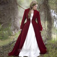Wholesale red velvet shawls - Burgundy Fall Wedding Jackets Velvet Long Sleeve Bridal Long Cloak Shawl Coat