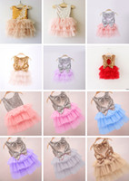 faldas de diseño de moda al por mayor-12 Diseños de Chicas Lentejuelas Torta Falda Arcos Dobles Encaje Ligueras Vestidos Verano TUTU Faldas Granadina Moda Bebé Niñas Vestidos de volantes 2-7 T