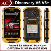 """Wholesale Chinese Waterproof Cell Phone - Rugged Discovery V6 V6+ IP68 Waterproof 3G Smartphone 4.0"""" IPS Android 4.2 MTK6572 Dual Core Dual SIM 1.3GHz 512MB RAM 4GB ROM Cell Phone"""
