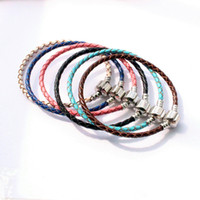Wholesale European Bracelet Box - DIY Braided Leather Buckle Chain Handmade Silver Plated Box Chain Bare Chain for DIY Bracelet Jewelry Accessories